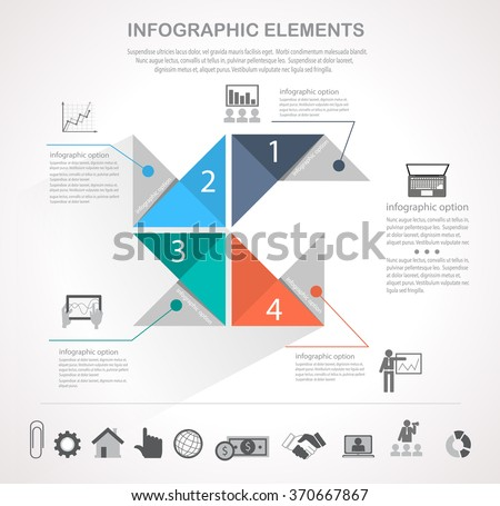 Infographic design template and business icons set. Template for diagram, graph, chart, flyer, presentation, print and website . Business and finance concept options, parts, steps  data visualization.