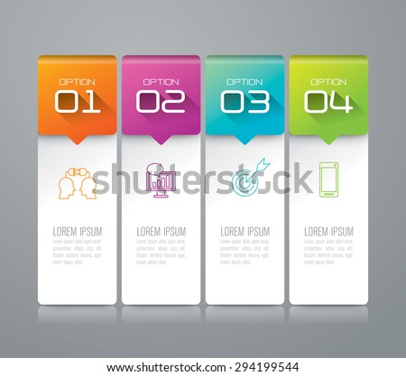 Infographic design template and marketing icons, Business concept with 4 options, parts, steps or processes. Can be used for workflow layout, diagram, number options, web design.    - stock vector