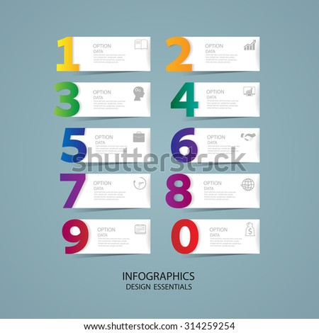 Infographic design template and marketing icons, Business concept with 10 options,realistic colorful ribbons and big numbers. - stock vector