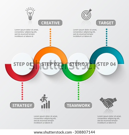 Infographic design template and marketing icons. Template for diagram, graph, presentation and round chart. Business concept with 4 options, parts, steps or processes. Data visualization. - stock vector