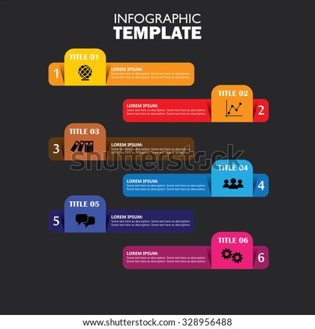 infographic design template and marketing vector icons. this business concept has 6 options, choices, steps or processes and can be used for workflow layout, diagram, number options, web design - stock vector