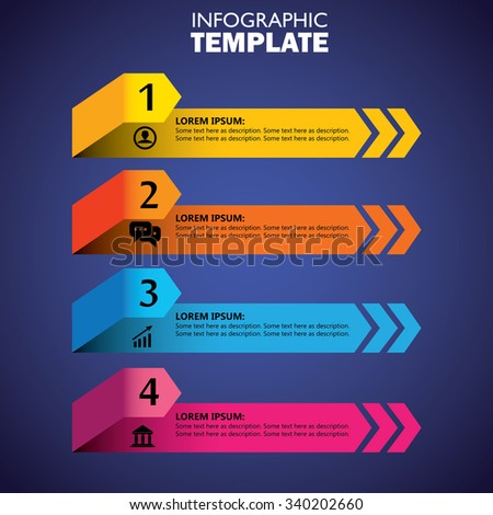infographic design template and marketing vector icons. this business concept has 4 options, choices, steps or processes and can be used for workflow layout, diagram, number options, web design - stock vector