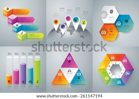 Infographic design template can be used for workflow layout, diagram, number options, web design. Business concept with 3, 4, 6 options, parts, steps or processes. Abstract background. - stock vector