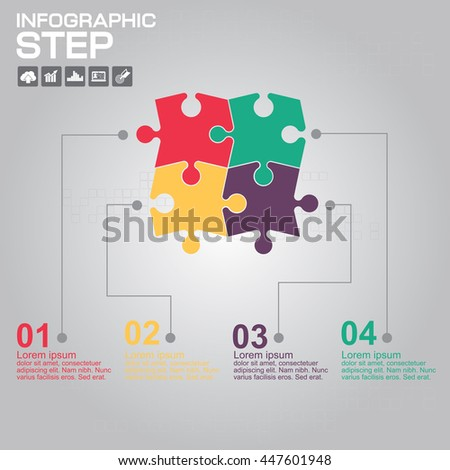 Infographic design template can be used for workflow layout, diagram, number options, web design. Infographic business concept with 4 options, parts, steps or processes. - stock vector