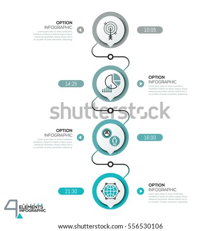 Infographic Design Template Diagram 4 Circular Stock Vector ...