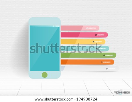 Infographic design template. Touchscreen device with colorful infographics paper template, vector illustration. - stock vector