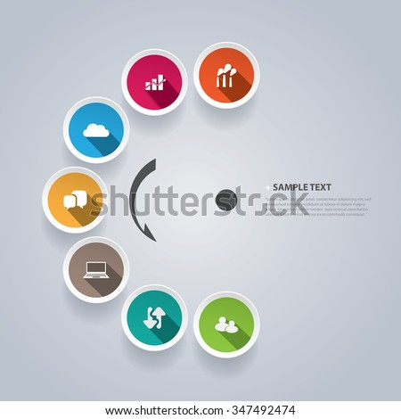 Infographic Design Template With Colorful Icons - stock vector
