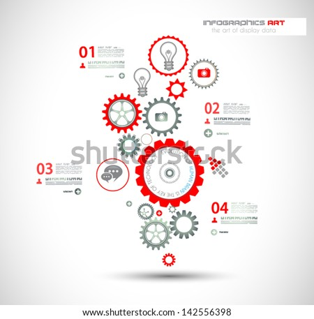 Infographic design template with gear chain. Ideal to display information, ranking and statistics with orginal and modern style. - stock vector