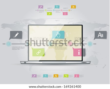 Infographic design template with laptop. Timeline infographics, elements and icons. Vector  - stock vector