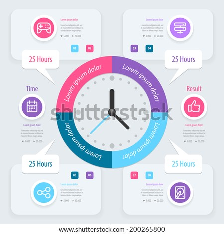 Infographic design. Time management. Vector eps 10.