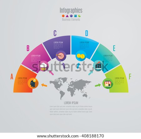 Infographic design vector and marketing icons can be used for workflow layout, diagram, annual report, web design. Business concept with 6 options, steps or processes. - stock vector