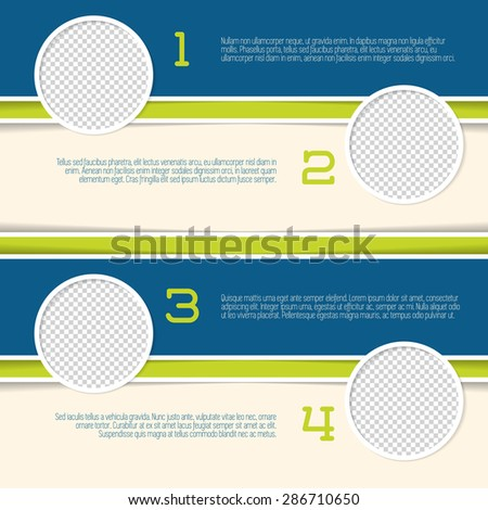 Infographic design with circle photo containers and numbered options - stock vector
