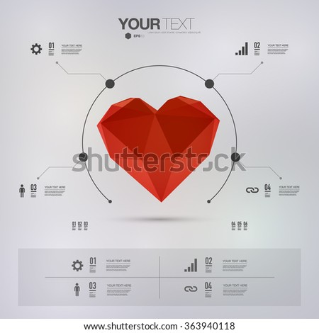 Infographic design with 3d low poly red heart with minimal grey background can be used for workflow layout, diagram, chart, number options, web design.  - stock vector