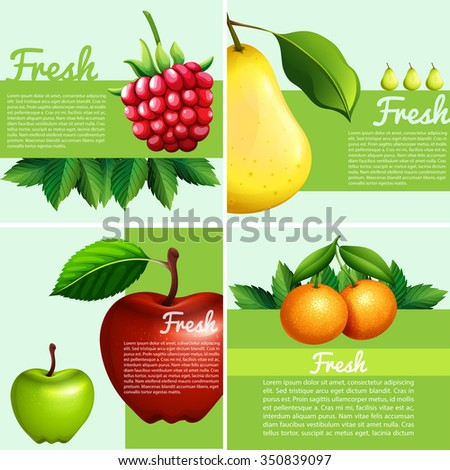 Infographic design with fresh fruits illustration