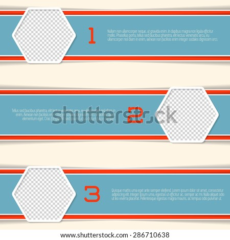 Infographic design with hexagon photo containers and numbered options - stock vector