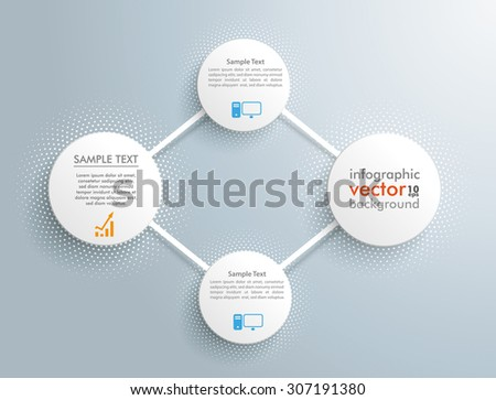 Infographic design with network circles on the gray background. Eps 10 vector file. - stock vector