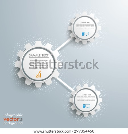 Infographic design with network gears on the gray background. Eps 10 vector file. - stock vector