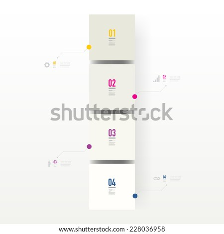 Infographic design with realistic 3d boxes on simple background with numbers and text  can be used for workflow layout, diagram, chart, number options, web design.  Eps 10 stock vector illustration  - stock vector