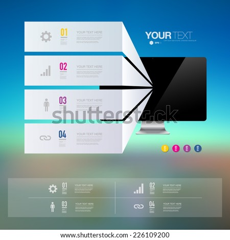 Infographic design with realistic 3d computer on blue sky landscape background  can be used for workflow layout, diagram, chart, number options, web design.  Eps 10 stock vector illustration  - stock vector