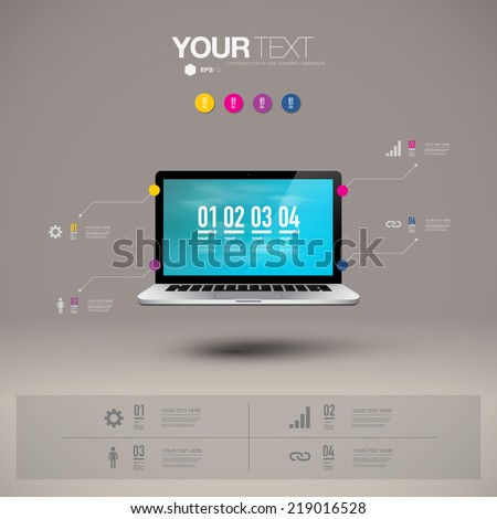 Infographic design with realistic 3d laptop computer with blue sky wallpaper, can be used for workflow layout, diagram, chart, number options, web design.  Eps 10 stock vector illustration  - stock vector