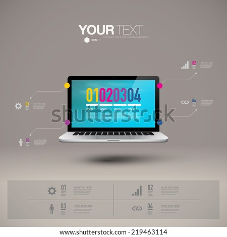Infographic design with realistic 3d laptop computer with blue sky wallpaper  can be used for workflow layout, diagram, chart, number options, web design.  Eps 10 stock vector illustration  - stock vector