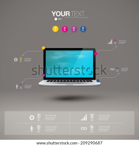 Infographic design with realistic 3d laptop computer with blue sky wallpaper on screen can be used for workflow layout, diagram, chart, number options, web design.  Eps 10 stock vector illustration