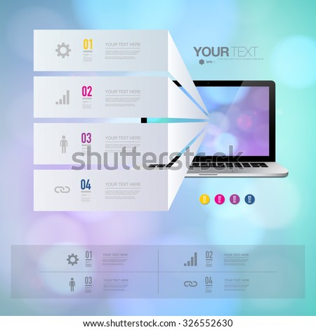 Infographic design with realistic 3d laptop computer with colorful shiny bokeh wallpaper can be used for workflow layout, diagram, chart, number options, web design. Eps 10 stock vector illustration  - stock vector