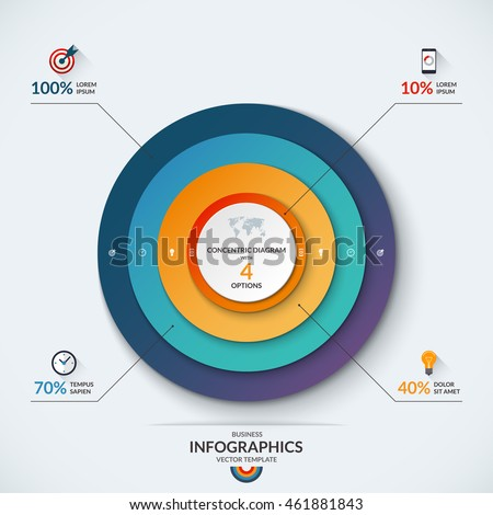 Infographic diagram template concentric circles vector stock vector infographic diagram template with concentric circles vector banner with 4 options 10 40 ccuart Images