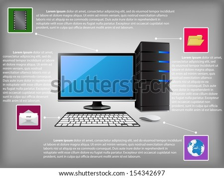 Infographic Diagram with Desktop Computer PC, Technology and Business Concept, Vector Illustration EPS 10.