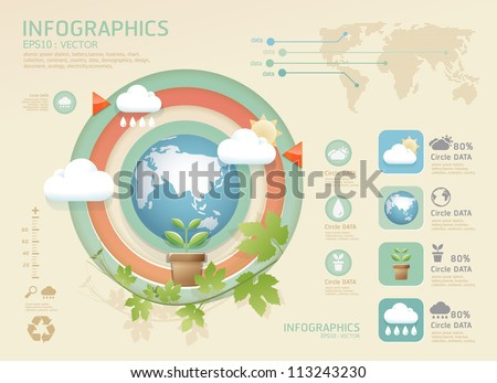 infographic eco Modern soft color Design template / can be used for infographics / numbered banners / graphic or website layout vector - stock vector