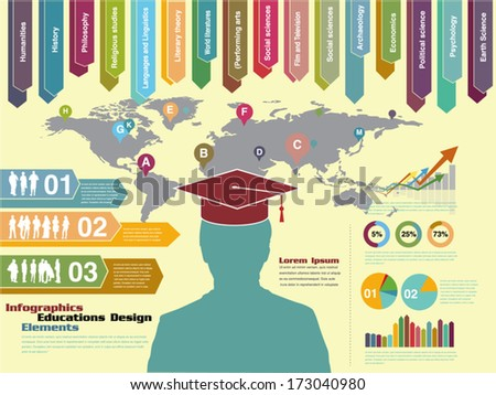 infographic education, element eps vector - stock vector