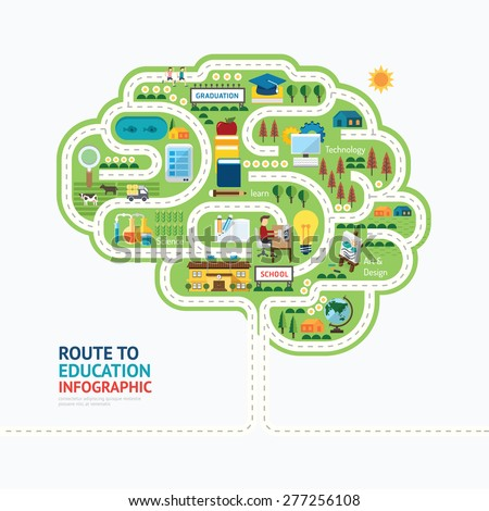 Infographic education human brain shape template design.learn concept vector illustration / graphic or web design layout - stock vector