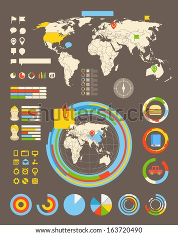 Infographic elements all selectable - stock vector