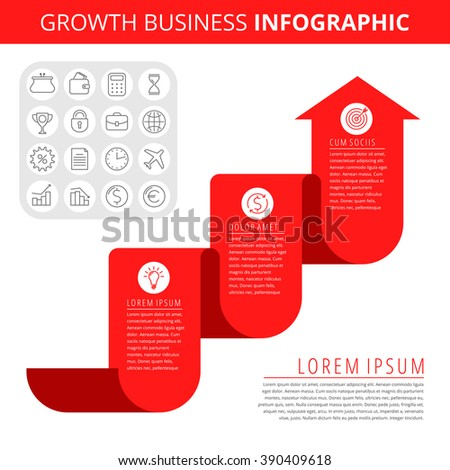 Infographic elements. Business design concept and isolated line icon set. Vector infographic icons, growth business chart. Flat red growth arrow and line icons. Process of increase business and profit - stock vector