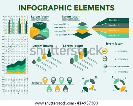 Infographic Elements Collection - Business Vector Illustration in flat design style for presentation, booklet, website,  etc. Big set of Infographics. Timeline vector. - stock vector