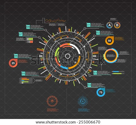 infographic elements. HUD UI for business app. Futuristic user interface. Abstract virtual graphic touch user interface. UI hud infographic interface screen monitor set web elements. - stock vector