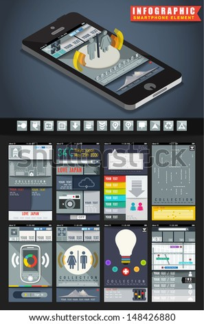 Infographic elements in smartphone  with flat style, web design concept in electronic devices, illustrator vector - stock vector
