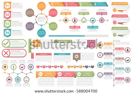 Infographic Elements Objects Numbers Amd Text Stock Vector ...