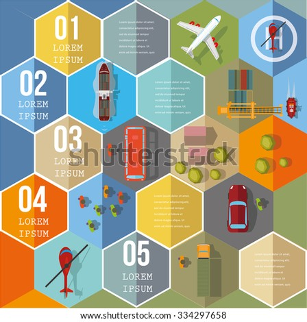 Infographic Elements on Hexagons - Top View on Hexagons with transport icons.  Vector illustration. - stock vector