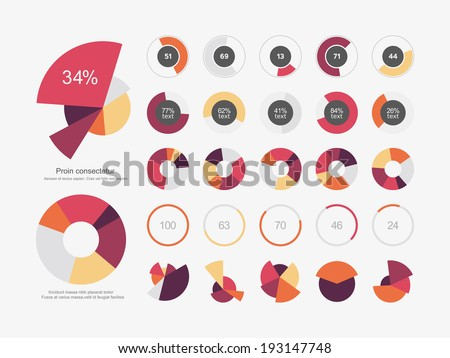 Infographic Elements Pie chart set icon - stock vector