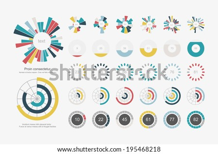 Infographic Elements.Pie chart set icon - stock vector