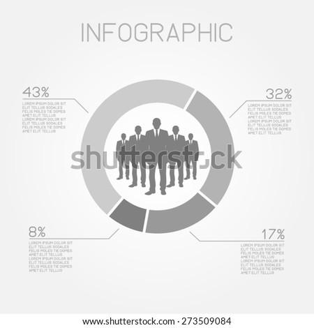 infographic elements pie chart statistics teamwork businessman professional people vector template - stock vector