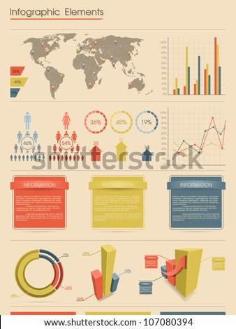 Infographic elements. Retro style - stock vector