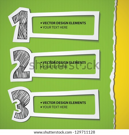 infographic elements set, hand drawn numbers and paper frames - stock vector
