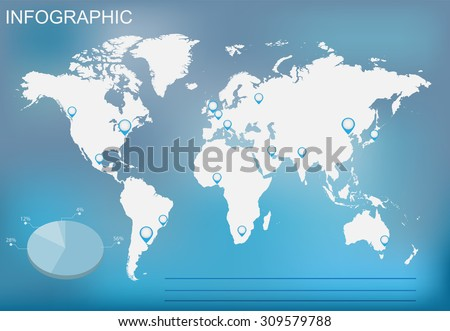Infographic elements set.World map infographic.Vector template.  - stock vector
