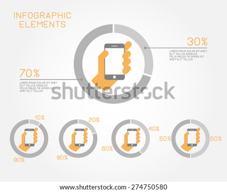 infographic elements statistics pie chart technology social network internet communication connection smartphone information - stock vector