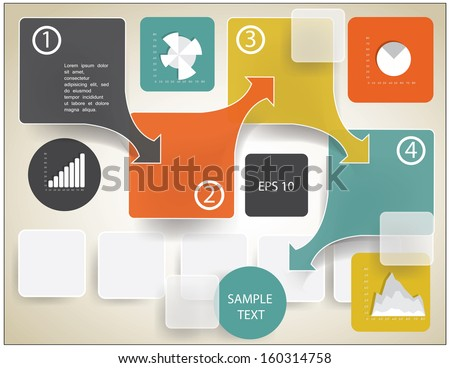 infographic elements step by step template - stock vector