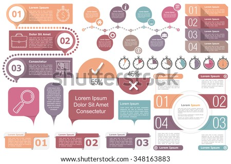 Infographic elements - Timeline, objects with text and numbers or steps or options, timers, circle diagram, percents chart, vector eps10 illustration - stock vector