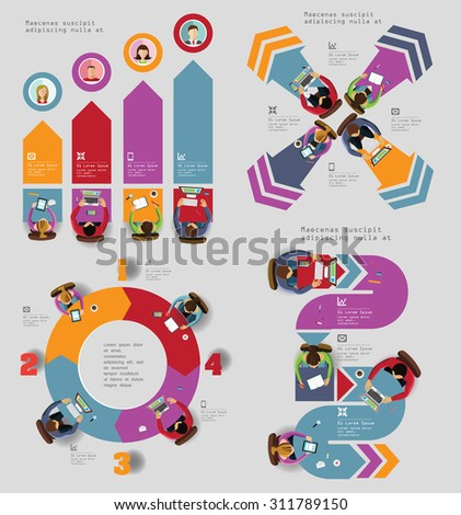 Infographic Elements - Top View on Arrows with People. Grey Background. Vector illustration. - stock vector