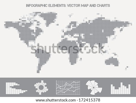 Infographic elements: vector map from small squares and charts - stock vector